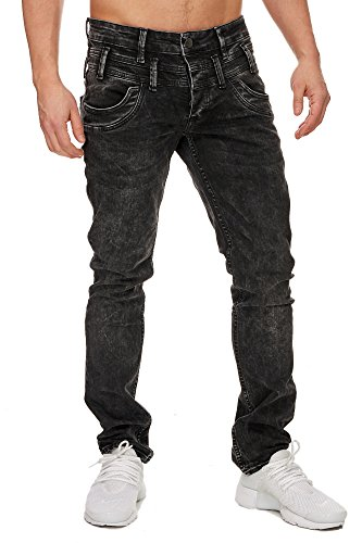 TAZZIO Slim Fit Herren Stretch Jeans Hose Denim 16535 schwarz 32/32 - 3