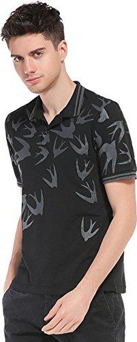 Sportides Herren Casual Dots Lapel Printing Short Sleeve Polo Shirt T_Shirt Tops JZA074 JZA078_Black