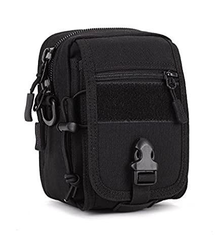 Multipurpose Tactical Messenger Bag MOLLE Auxiliary Phone Pouch Bum Bag Cycling Saddlebag (Black)