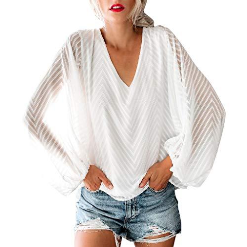 Frauen T-Shirt V-Ausschnitt Oberteil Casual Einfarbig Top Langarmshirt Loose Fit Bluse Mit Puff Sleeve Mesh Perspektive,GrößE S-XL,Farbe Schwarz Weiß-WUDUBE Puff Sleeve Hoodie