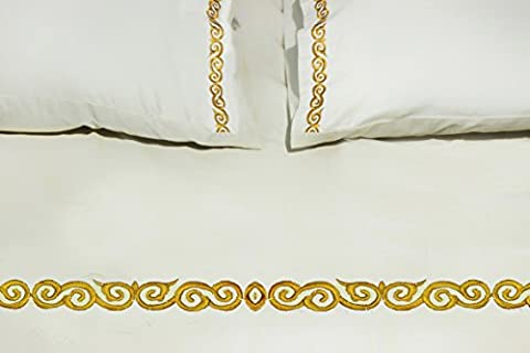 Bedding - Bed linens Cotton All Cotton and Linen-100% Natural Organic GOTS Certified GOTS organic bed sheet sizes double Wrinkle Free Cotton Supreme Collection-500TC with Beautiful Regal Embroidery Queen Size Bedsheet(92