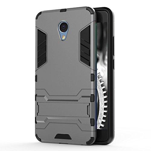 Schutz Hülle Case für Meizu M5 Note   Grau   Hard Cover mit Kickstand   Plastik Silikon Kunststoff TPU Schale Bumper Tasche Schutzhülle Handy Hülle