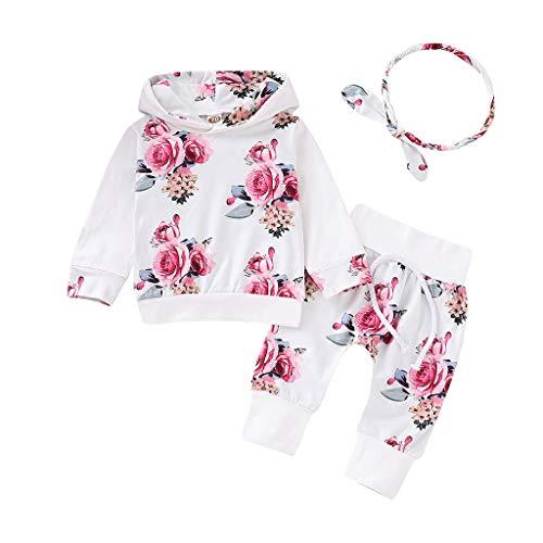 Mbby tuta bambina ragazza primavera e autunno, 0-3 anni completo bambino ragazze 3 pezzi tute pantaloni + felpe manica lungo stampe a fiori set cotone (12-18mesi, bianco)