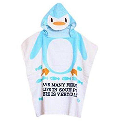 Mainaisi Serviettes de Bain Avec Capuche Pour Bébé Animaux 10 Couleurs (Blue Penguin,60 * 120CM)