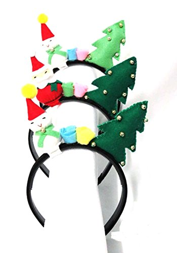 Lanna Siam® 3 Pcs Baby Girls Christmas Snowman Headbands Party Props