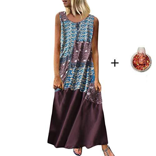 Tohole Damen Strandkleider Türkischer Stil Boho Lose Tunika Lange Sommerkleider Shirt Strandhemd Kleid Urlaub Vintage unregelmäßiges Kleid(Braun-H,M)
