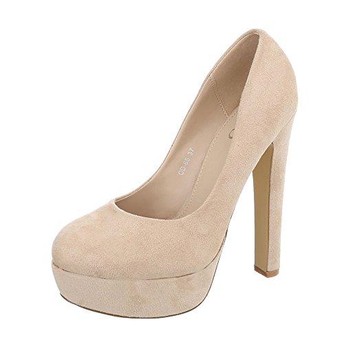 Ital-Design High Heel Pumps Damen-Schuhe High Heel Pumps Pfennig-/Stilettoabsatz High Heels Pumps Beige, Gr 38, Od-65-