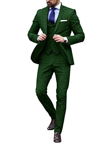 Lilis® Herren Slim Fit 3 Teilig Anzüge Business Hochzeit Smoking EIN Knopf Grün