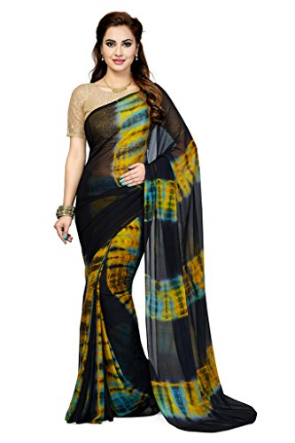 Ishin Faux Georgette Blue & Yellow Geometrical Printed Bollywood Women's Saree
