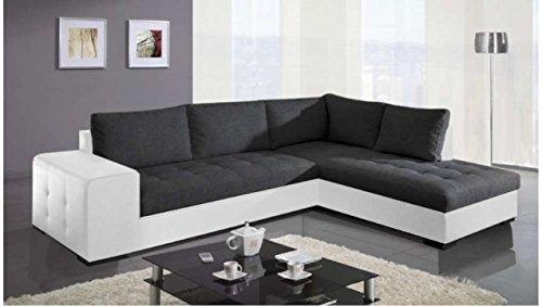 JUSTyou PARIS Canapé d'angle Sofa canapé lit Cuir écologique Tissu structuré (lxLxH): 212x282x88 cm Blanc Noir Angle droit