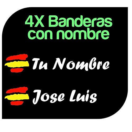 X4 Pegatinas Vinilo Bandera España + tu Nombre -