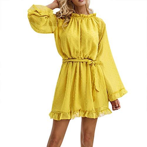 TEFIIR T-Shirt für Frauen, Preisnachlass für Oktoberfest, Leistungsverhältnis Damen Frühling und Herbst süße sexy Langarm Spitze Chiffon Kleid Strandkleid für Freizeit, Urlaub und Dating Jersey Wrap Front Dress