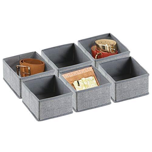 mDesign Set da 6 scatole per armadio e cassetti – Comode scatole portaoggetti e portagiochi in tessuto piccole – Flessibili contenitori per qualsiasi oggetto – grigio