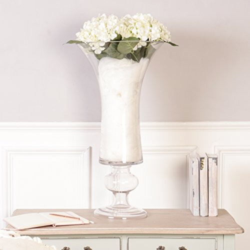 Beautiful Large Stylish Tapered Footed Glass Tulip Vase. Perfect As A Centre Piece For A Wedding, Dinner Party Or Anniversary Dinner. H70 X D35cm