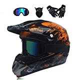 GNB Motocross Helm Motorradhelm Cross Helme Schutzhelm für Motorrad Crossbike Off Road Enduro Sport mit Handschuhe Sturmmaske und Brille,orange,M