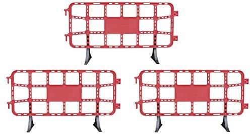 Kit 3 vallas plástico obra de 2 metros rojas. Valla contención peatonal roja
