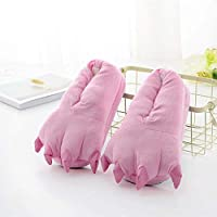 Handaxian Super soft velvet cartoon paw shoes parent-child thickening non-slip plush cotton slippers