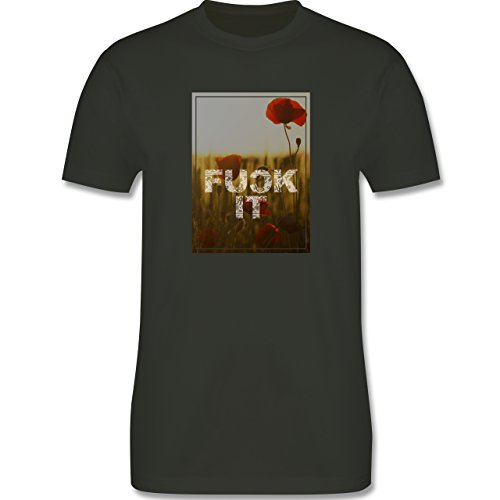 Statement Shirts - Fuck it Blume - Herren Premium T-Shirt Army Grün