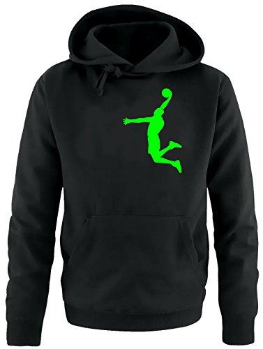 DUNK Basketball Slam Dunkin Erwachsenen Sweatshirt mit Kapuze HOODIE schwarz-green, Gr.L