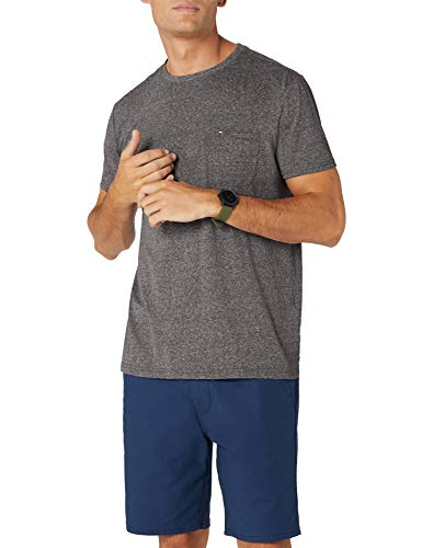 Tommy Jeans Herren Essential Pocket  Kurzarm  T-Shirt Schwarz (Tommy Black 078) X-Large