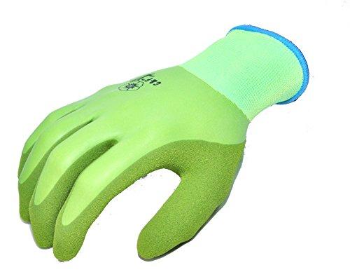 G & F 1537M Medium Damen Wasserdicht Seamless Knit Garten Handschuhe mit Double Micro Schaum Nitril Beschichtung–Grün (Damen-double-knit)