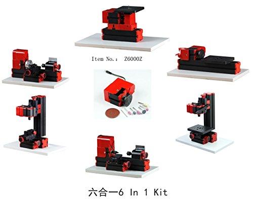 Motorisierte Mini Metal Working Drehmaschine DIY Werkzeug 6 In 1 Basic Mini Maschine Kit Box Für Hobby Wissenschaft Bildung Modellbau Tisch-Werkzeugmaschine -