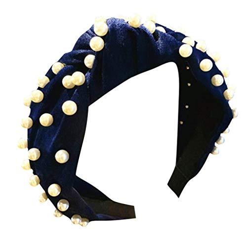 BfmyxgsStirnband breite Seite einfache Nagel Perle Stoff Haarband Stirnband geknotet Haarschmuck süß Druck Haar Kopfschmuck weiblich (70er-jahre-make-up Und Haare)