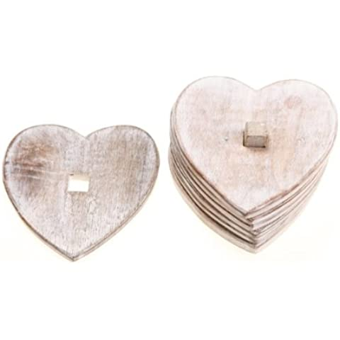 Wooden Heart Coasters Set of Six On Storage Stand