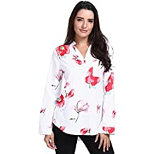 YULAND Crop Tops Damen Bekleidung Oberteile Damen Langarmshirt Damen Blusen  Frauen V-Ausschnitt Casual Blumendruck 4e357310fd