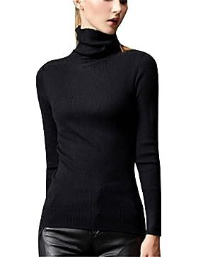 Mujer Jerseys De Punto Cuello Alto Manga Larga Sueter Basico