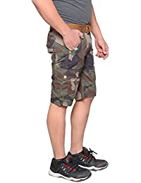 Krystle Men's Multi Pocket Slim Fit Cotton Twill Cargo Army Shorts