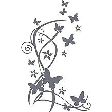 Pegatinas de Pared (–Vinilos decorativos para salón Ornamente Mariposas, metal, 071 gris, 91 x 57 cm