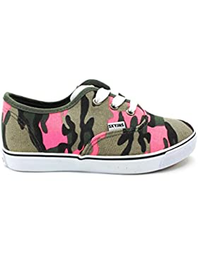 Zapato SNEAKER´S lona combinado Army e Fucsia