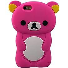 Teddy Bear caso para el iPhone 4 iPhone 4s 5 5s 5c 6 6s se 7 6 más 7 Plus de caucho de silicona suave forma 3D Cartoon Animal Ariana grande tapa estilo piel titular de Gel Tpu (iPhone 7, Hot Pink)