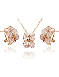 Carina Swarovski Element Crystal Flower 18k Gold plated Swarovski Elements Crystal Pendant and Earring set with Chain For Women / Girls