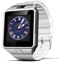 AlbitaStore DZ09 Smart Watch / Reloj inteligente DZ09 (disponible en español) / Reloj Bluetooth / Reloj Android / Reloj para la salud con pantalla táctil y cámara, Tarjeta Sim y puerto para tarjeta TF, batería de larga duración en tiempo de espera para teléfonos smartphone Android y los dispositivos IOS de iPhone (Blanco)