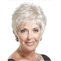 Vieux âge moyen femmes Perruque en argent court Grey Fibre synthétique Peluches à cheveux moussants pour mère Grand-mère Grandma Queen avec capuchon confort respirant