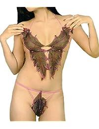 be27c175479 Back Women Net Leafy Bikini Set Fun Bra Set (6631 Brown) Sheer Lingerie Fun