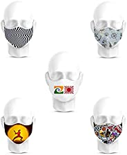 Honeymeloom Cotton Unisex Printed 2 Layered Mask - Multi-Coloured, Free Size, Pack of 5