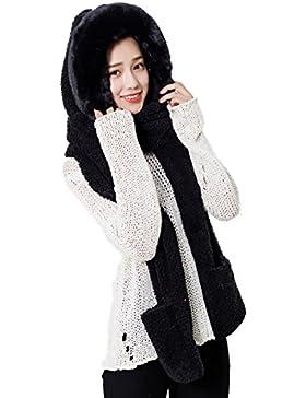 LSCY Novità Cappuccio con cappuccio per adulti 3 in 1 Sciarpa con testa calda Panda Winter Hat & Sciarpa e guanti...