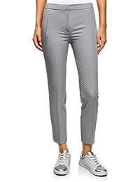 oodji Ultra Mujer Pantalones con Elástico en la Cintura y Bolsillos  Decorativos 29f0a87d85ff
