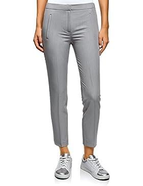 oodji Ultra Mujer Pantalones con Elástico en la Cintura y Bolsillos Decorativos