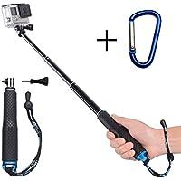 GEHAUM Selfie Stick für GoPro Actioncam Aluminium Einbeinstativ Erweiterbar Selfie Stange Monopod Pole für GoPro HERO 65/4/3+/3/2/SESSION/ Yi/ Rollei/ /Akaso/Apeman/SJCAM und andere Action Kameras mit Karabinerhaken als Geschenk