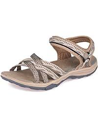 GRITION Frauen Wandern Sandalen, Damen Outdoor Sport Wasser Schuhe Sommer Flach Cross-Tied Beach Sandalen Open Toe Verstellbare Klettverschluss Walking Schuhe Schwarz
