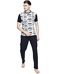 Valentine Night Suit For Men - White And Black Printed Night Wear - Stylish Tshirt And Pyjama Set For Men - Cotton...