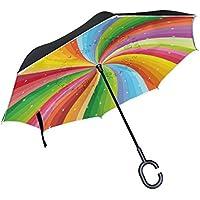 Mi Diario Doble Capa Paraguas invertido coches Reverse paraguas en espiral arco iris rayas con estrellas resistente al viento UV prueba de viaje al aire libre Paraguas