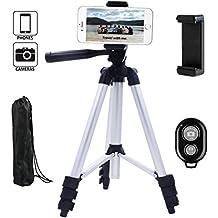 Dezuo 115cm Aluminio Trípode para Cámara Reflex, Cámara Digital SLR, Smartphone, iPhone, ipad, Incluye Universal Móvil Holder y el Controlador Remoto Bluetooth