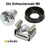 odedo® Lot de 24Écrou à cage Vis de montage M6Kit de montage pour armoire réseau Serveur réseau Vis musicien (24)