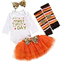 uBabamama Autumn Sale!!! Thanksgiving Day Outfits for Toddler Kids Baby Girl Letter Printed Romper +Tutu Skirt +Hairbands+Warm Leg Sleeves(Orange,3-6 Months/80)