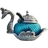 GAC Oxidize Metal Home Decor Duck Shape Glass Bowl Tray Set (Blue)
